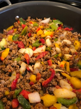 Add frozen peppers & onions